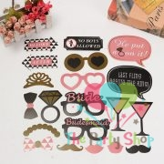 20Pcs Shiny Colorful Photo Booth Props for Bachelorette Party, Featuring Glasses, Mustache, Hat, Tie, Lips - Party DIY Favor Photobooth Kit