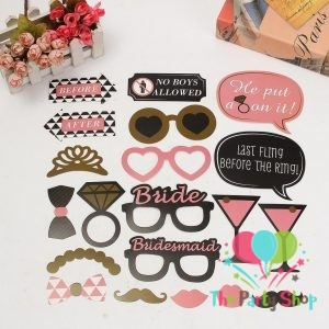 20Pcs Shiny Colorful Photo Booth Props for Bachelorette Party, Bridal Shower Featuring Glasses, Mustache, Hat, Tie, Lips – Party DIY Favor Photobooth Kit