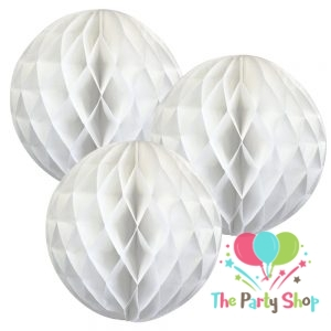 9″ White Tissue Paper Honeycomb Balls Hanging Party Decoration