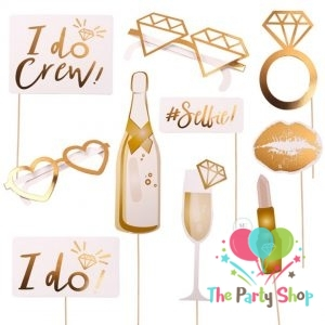 10pcs I DO Wedding Bridal Shower Party Photo Booth Props Team Bride Photobooth Wedding Decoration Bridal Shower Bachelorette Party Supplies