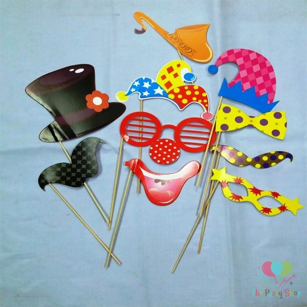 10PCS Photo Booth Props Clown Smile Eyeglass On A Stick Birthday Photobooth Prop Party Decor Selfie