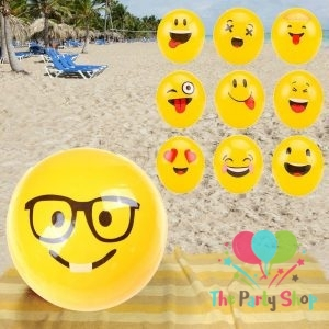 Emoji Inflatable Beach Balls Soft Ball Kids Adult Water Play Pool Party Toys Sports Ball Toy for Boys and Girls Gift for Fun (Pack of 6)