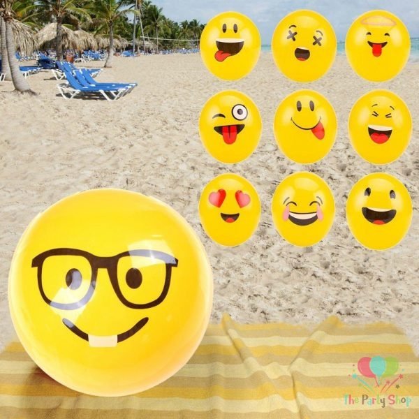 Emoji Inflatable Beach Balls Pool Balls Soft Ball Kids Adult Water Play Pool Party Toys Party Supplies New Design Sports Ball Toy Inflatable Ball Outdoor Toy for Boys and Girls Gift for Fun