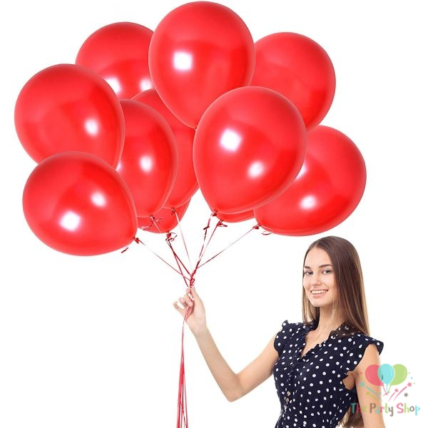 "10"" Pearl Glossy Red Latex Balloons Birthday Party Festivals Balloons Wedding Decoration (25 Piece)"
