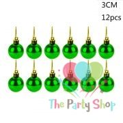 12pcs 3cm Christmas Tree Decor Ball Bauble Hanging Home Xmas Party Ornament Pendant Decor Decorations Red, Blue, Golden, Green