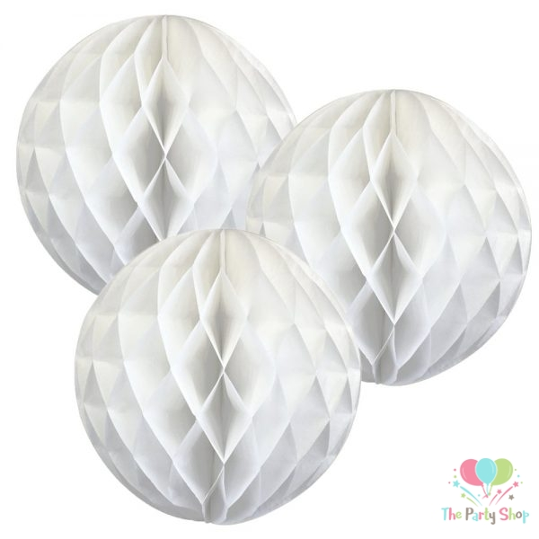 """9"""" White Tissue Paper Honeycomb Balls Hanging Party Decoration"""