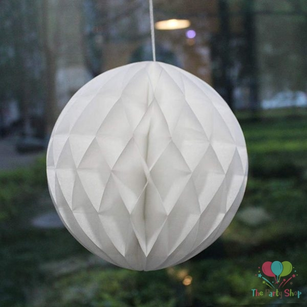 """5.5"""" White Tissue Paper Honeycomb Balls Hanging Party Decoration"""